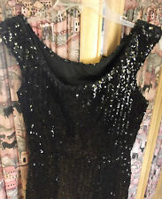 40-50s Black Sequin VaVaVoom Beauty Party Dress sz S