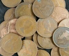 British Old Pennies Job Lot 100 Old Penny Coins From 1896 To 1967 1d Coppers