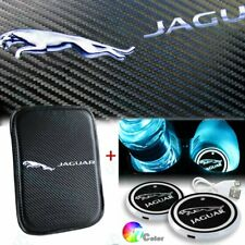 For JAGUAR Center Console Armrest Cushion Mat Pad Cover with Cup Coaster Set New