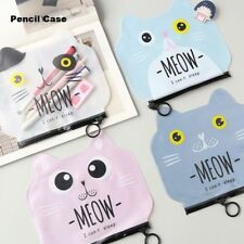 Kawaii Cat Cartoon PVC Pencil Case Kids Cosmetic Pouch Pen Bag Study Gift