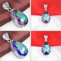 Antique Teardrop Rainbow Fire Mystical Topaz Gemstone Silver Necklace Pendant