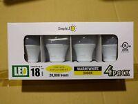 SimpleLED A19 LED Light Bulb 12W = 75W Equivalent 3000K Warm White UL 3 Pack