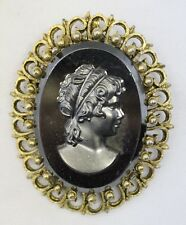 Antique Art Nouveau Black Onyx Cameo gold Plated brooch pin pendant