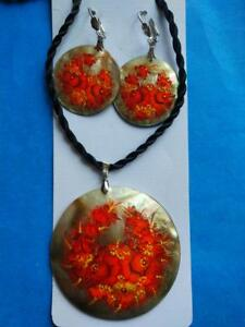Mother of Pearl Russian Hand Painted Necklace Pendant Earrings  Flowers Zhostovo