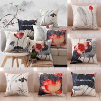 """Lotus Flax Pillow Case Car Sofa Bed Waist Throw Cushion Cover Home-Decor 18""""~"""