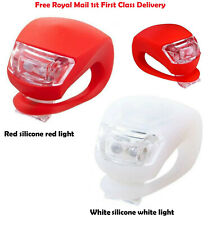2 LED BIKE LIGHT SILICONE MOUNTAIN BICYCLE FRONT REAR LIGHTS SET PUSH CYCLE CLIP