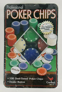 NIP Cardinal Pokcer chips set 100 pack 4 colors with dealer chip Texas Hold Em
