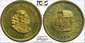 1964 SOUTH AFRICA ONE CENT PCGS PR65  GREEN COLOR TONED PROOF