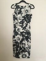 F&F Black Cream Floral Print Size 8 Formal Wedding Guest Dress Fitted (E18)