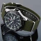 SHARK ARMY Date Day Black Silver Military Nylon Men Quartz Sport Wrist Watch