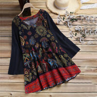 Plus Size Women Cotton Boho V-Neck Blouse Tunic Holiday Hippie Swing T-shirt Top