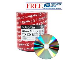 100 Pack Ridata CD-R 52X 700MB/80Min Silver Shiny Blank Media Recordable Disc