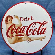 Vintage Coca Cola Porcelain Sign Pinup Bottle gameroom man cave shop garage