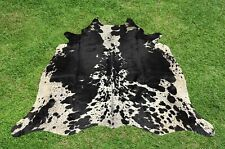 Cowhide Rugs Black Real Hair on Cow Hide Skin Leather Area Rug Decor 5 x 6 ft