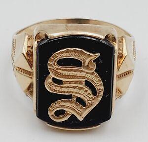 Vintage Men's 10K Yellow Gold & Onyx ''S''  Signet Ring  Size 9.5