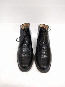 Sz 7.5 or 8 Vintage GABOR Ladies Black loafer style HI Shine leather ankle boots