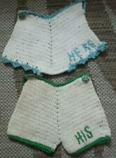 Vintage his and hers crochet shorts potholders