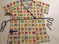 WOMEN'S FASHION MEDICAL HOSPITAL UNIFORM NURSING SCRUB TOP PRINT #9804