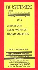 Bus Timetable Leaflet ~ Midland Red South - 215: Stratford to Long Marston: 1987