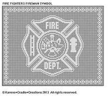 FIREFIGHTER/FIREMAN SYMBOL Filet DOILY/TABLE RUNNER Pattern