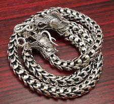 "24"" 258g HUGE HEAVY 2 HEAD DRAGON 925 STERLING SOLID SILVER MENS NECKLACE CHAIN"