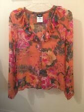 Dolce & Gabbana Floral Flirty Feminine Pink Silk Blouse IT 42 US 4 6