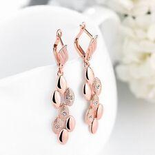 Rose Gold Statement Dangle Drop Long Tassel Wheat Zircon Women Earring Jewelry