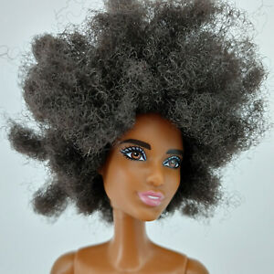 Barbie Fashionista Afro doll 2015 mattel pink lips bent arm Nude Doll