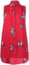 New Womens Plus Size Butterfly Print Sleeveless Chiffon Button Hi Low Shirt Top