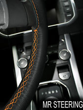 TRUE LEATHER STEERING WHEEL COVER FOR VOLVO F16 TRUCK 87-93 ORANGE DOUBLE STITCH