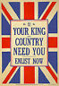WWI British King & Country Need You Enlist War Poster WW1 Re-Print- A3 A4