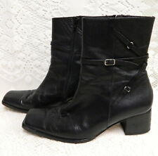 CLARKS BLACK LEATHER SIDE ZIP ANKLE BOOTS~WOMENS 6 ~SQUARE TOE~LEATHER LINED
