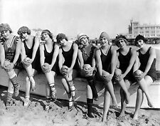 A0 print post vintage bathing beauties  black white photo beach 1920