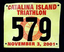 Catalina Island Triathlon Unused Bib #579 November 3, 2001 Yellow