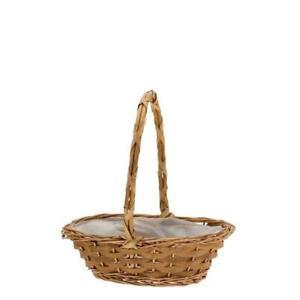 Golden Punt Lined Wicker Basket - 10 inch - Flower Plant Gift Easter Hamper