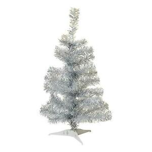 Silver Christmas Tree Xmas Artificial Traditional Pine Small With Stand 2ft 60cm