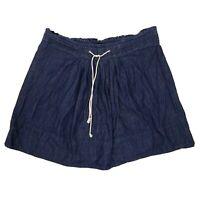 MERONA Solid All Blue Chambray Stretch Waist Skirt Womens Size XXL