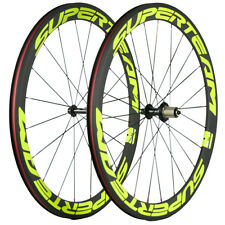 Superteam Yellow Carbon Bike Wheels 50 Clincher Road Bike 23mm Width 700C Wheel