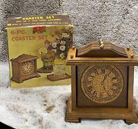 NOS Vintage McCrory Hardwood Cork Clock Face 6 Coasters Set  Roman Numeral
