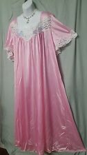 PINK WITH LACE TRIM & APPLIQUE  ANKLE LENGTH  NIGHTGOWN WOMENS SIZE 4X