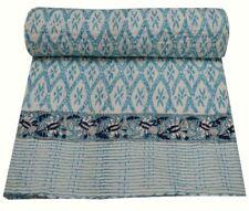 Indian Handmade Ikat Kantha Quilt Twin Throw Reversible Bedspread Bedding Gudari