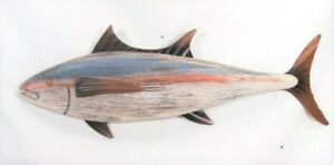 Fish Rustic Wood w/Metal Fins Hand Crafted & Painted Wall Art (Blue)