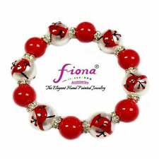 Cardinal Bird Jewelry Christmas Bracelet Red Handmade Jewelry Beaded Bracelet