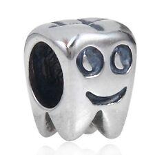 Dientes Sonrisa Dentista sólido de plata 925 encanto grano encaja pulsera Europea