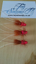 "3x Red Frances 2"" Copper Tube Salmon Fishing Flies"