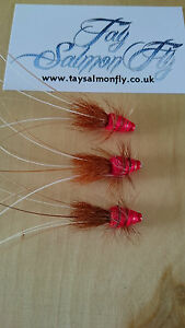 "3x Red Frances 1.5"" Copper Tube Salmon Fishing Flies"
