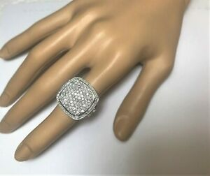Authentic 17mm Sterling Silver Albion Diamond Ring by David Yurman