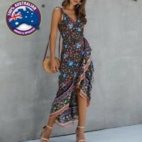 Boho Floral Wrap High Waist Sleeveless Ruffles Summer Long Beach Dress S-2XL