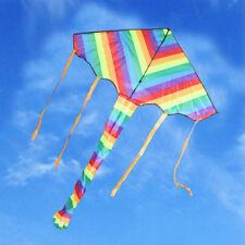 Kite Rainbow Color Outdoor Sport Toy Fun Stunt Gift Tail &100m Line Kid 95006001