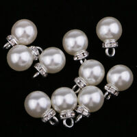10pcs Pearl Rhinestone Pendant Charms for DIY Necklace Jewelry Making 10mm